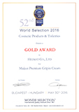 Maijun Premium Gripin Cream is awarded the Gold Quality by Monde Selection 2016