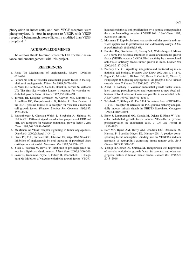 Inhibition of Tyrosine Phosphorylation of Vascular Endothelial Growth P5